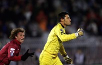 Belgrade, SERBIA: Livorno's goalkeeper Marco Amelia (R) celebrates after scoring a goal against Partizan Belgrade during their UEFA Cup Group A football match in Belgrade, 02 November 2006. AFP PHOTO / DIMITAR DILKOFF (Photo credit should read DIMITAR DILKOFF/AFP/Getty Images)